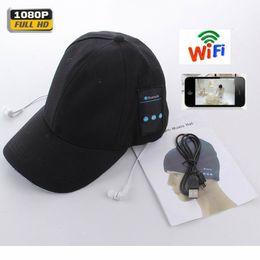 Grabadora de música online-Nuevo HD 1080P Cap Camera WiFi Remote Mini Camera + Auriculares Bluetooth Music Play Video Recorder 720P PC Webcam Out Door Sport Camera