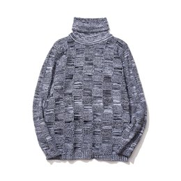 Wholesale Plaid Turtleneck - New autumn and winter men downneck lattice turtleneck sweater knitted shirts thicken 100% polyester fiber pullover men sweaters