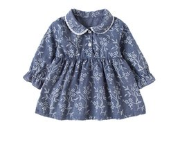 Wholesale cotton denim girls dress - Flower Girls Dresses Knitting Denim Cotton Long Sleeve Turn-down Collar Korean Style Tutu Skirt Spring Kids Clothing