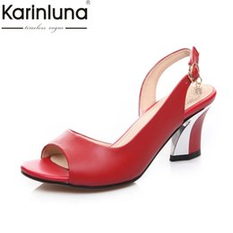 scarpe la natura Sconti KARINLUNA New Big Size 33-44 Nature Leather Nero Bianco Donna Scarpe Tacchi alti da donna Tacchi alti da sposa