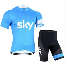 Wholesale team sky jersey bib - New SKY Bike Team Breathable Cycling Jersey Cycling Short Sleeve clothes Bicycle Jersey bib pant summer Cycling Clothing clothes