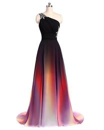 Argentina 2018 un hombro gasa degradado de colores una línea de vestidos de baile con cuentas hasta el suelo vestido de fiesta de noche formal Suministro
