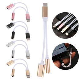 Разъем USB Type-C К 3,5 мм AUX Наушники Аудио Splitter Преобразователь Кабель-адаптер Высокоскоростной сертифицированный сотовый телефон Музыкальные аксессуары от