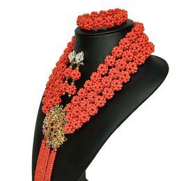 fina Red African Crystal beads jewelry 3 fila de lujo Woven Ball beads Collar de bodas Nigerian Costume Jewelry Set desde fabricantes