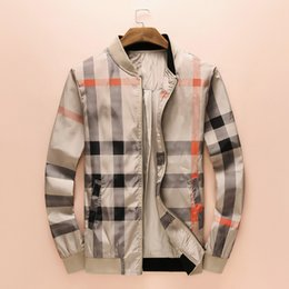Wholesale Lead Jacket - Foreign Trade Spring And Autumn New Pattern Loose Coat Male Leisure Time Stand Lead Lattice Printing Leisure Time Jacket Recruit Agent