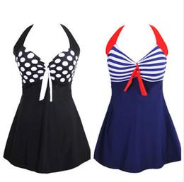 Halfter kleid badeanzug online-Sexy gestreift plus Größe gepolstert Marineblau Neckholder Kleid Bademode Frauen einteiliger Badeanzug Beachwear Badeanzug M-4XL
