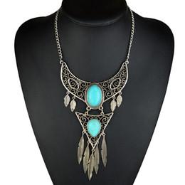 blaue stein silberne schmucksachen Rabatt Böhmische antike silberne Farbe Tribal Leaf Blue Stone Quaste Vintage Aussage Choker Halskette Schmuck für Frauen
