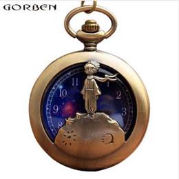 Reloj de bolsillo antiguo de bronce antiguo Little Prince Pocket Vintage Fob Reloj de cuarzo con cadena de colgante de regalo para niños Boy desde fabricantes