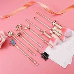 Argentina Pincel de maquillaje Cardcaptor Sakura Sailor Moonv Pinceles de maquillaje Set mango dorado Pincel cosmético Cepillo de base Herramienta de maquillaje para mujeres 4 tipos Suministro
