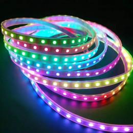 Digital led streifen schwarz pcb online-Ws2811 led streifen licht 5m 30/60 leds / m ws2811 ic 5050 rgb led band, dc12v weiß / schwarz pcb, 2811 led streifen adressierbar digital