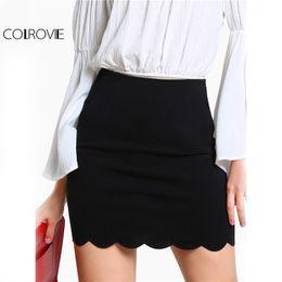 Wholesale zip brief - COLROVIE Black Sexy Mini Fitting Skirt Scallop Edge Form Women Elegant OL Summer Pencil Skirts 2017 Back Zip Up Brief Club Skirt