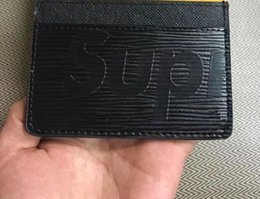 Wholesale Leather Short Sets - wholesale Classic Design Casual Credit leather card set card package french tide Card ID Holder Ultra Slim Wallet Packet gy Bag with box