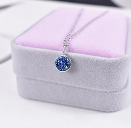 Wholesale 18k Pure Gold Necklace - Pure silver romantic blue crystal fragments circular pendant dream star 18k gold collarbone single diamond necklace crystal cluster.