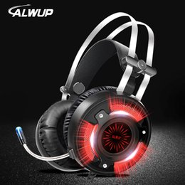 ALWUP A6 Gaming Headphones para juegos de computadora para computadora con splitter con cable led HD Bass Gaming headset para ps4 xbox one con micrófono desde fabricantes