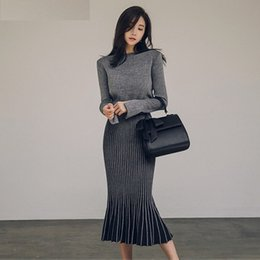 Wholesale Knit Skirt Suit - Women Two Piece Set 2018 Autumn Winter Pullover Sweater + Fishtail Skirt Two Piece Suit Long Sleeve Office Wear Knitted Clothing