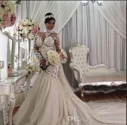 2019 цветочный сад готический Azzaria Haute Плюс Размер Иллюзия Длинные Рукава Русалка Свадебные Платья 2018 Нигерия Высокая Шея Полный назад Дубай Арабский Замок Свадебное Платье