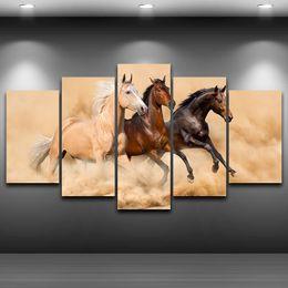 Conjunto de pintura de tres paneles online-5 Unids / set Enmarcado HD Impreso Tres Corriendo Caballo Imagen Personalizada Lienzos Animal Pintura Al Óleo Artworks Poster
