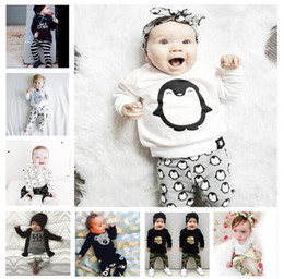 Wholesale Baby Leggings Letter - Baby Clothes set Boys Ins Clothing Sets Girls Letter T Shirt Pants Print Summer Top Leggings Cartoon Long Sleeve Kid Outfits Suits KKA4082