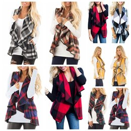 Argentina Laspels sin mangas de la capa de lana abrigo otoño invierno casual cuadros mujeres chaleco Tops Turn Down Cardigans de cuello Suministro