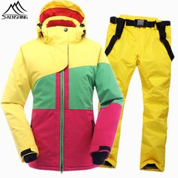 Wholesale Cheap Female Suits - Wholesale-SAENSHING Winter Ski Suit Female Women Waterproof Ski Jacket Snowboard Pant Thermal Breathable Cheap Outdoor Mountain Skiing Set