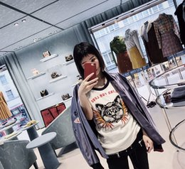 Wholesale Cat T Shirts Women - Newest Fashion Designer T Shirt Women Cat Printing 25 Letter Print Casual T shirt Blind for Love Tees