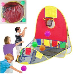 Wholesale Fun Shoots - OTRESS Kids Foldable Out indoor Sports Basketball Shooting Tent Toys With 4 Ocean Ball Portable Fun Toy Sport Play Gift VQ787