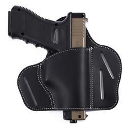 2019 coldres para pistola Novo coldre de cinto escondido coldre de couro geral preto Stealth pequeno para todas as pistolas táticas compactas Coldre de arma rápida fácil tático. coldres para pistola barato