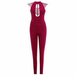 Argentina Color rojo vino para mujer HL vendaje Jumpsuits Sexy Hollow Out Bodycon Monos Celebrity Wear de calidad superior Suministro