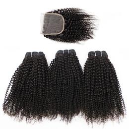 бразильские человеческие волосы афро Скидка Kisshair афро кудрявый вьющиеся волосы девственницы 2/3 пучки с закрытием кружева натуральный коричневый бразильский перуанский Индийский малайзийский вьющиеся человеческие волосы