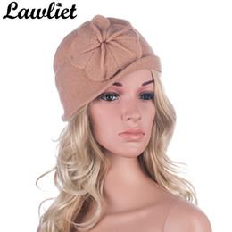 Wholesale purple cloche hat - Winter Women Hats Beanies Cloche Ladies Wool Cap Bucket Floral Warm Hats for Women Bonnet Femme Skullies Beanies Female Cap A289