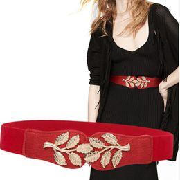 2019 elastico largo cintura di vita New Stretch Ampia vita Fashion Gold Large Buckle Belt Cintura Female Body Sculpting Cummerbund Elastic Solid Accessori donna elastico largo cintura di vita economici