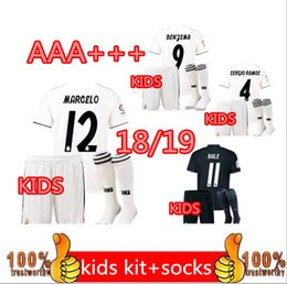 Wholesale Baby Boys Shorts - factory Outlet Real madrid KIDS football jersey RONALDO Away 2018 KROOS Home white 2019 BOY RAMOS ISCO MODRIC 2019 Jerseys baby Ninos