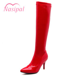 7efd5545ba0780 Bottes au talon aiguille de Lasyarrow pour femmes Bottes pour femmes sexy  Bottes à talons hauts en cuir verni noir rouge solide Knight Lady Chaussures  en ...