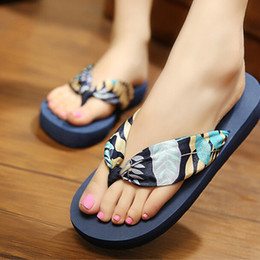 99ecd44fb717d Nice New Women Shoes Bohemian Silk Sandals And Slippers Slope With Beach  flip-flops Chaussure Femme S113