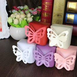 Wholesale Gold Wedding Favour Boxes - Laser Cut Butterfly Gift Boxes Folding DIY Candy Box Baby Shower Favor Box Favour Box Baby Shower Wedding birthday Party