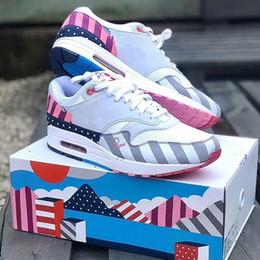 Envío gratis zapatillas originales online-Piet Parra x 1 Blanco Multi Rainbow 87 Zapatos para correr con la caja original 87 Mujeres Hombres Zapatillas de deporte Zapatillas de deporte envío gratis