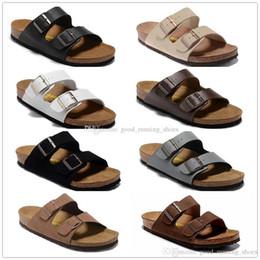 2019 hombres de látex de cadena 22 colores Arizona Venta caliente verano Hombres Mujeres sandalias planas Zapatillas de corcho zapatos casuales unisex imprimir colores mezclados flip flop tamaño 34-46
