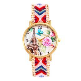 Relógio de pulseira trançada mulher on-line-Moda relógios mulheres estilo étnico impresso trançado pulseira tecido banda pulseira de quartzo relógios de pulso dress casual watch relogio masculino relógio