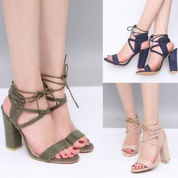 Wholesale Chunky Heel Slingback Shoes - Women Lace Up Sandals Open Toe Chunky High Heels Suede Pumps Ankle Strap Casual Shoes Slingbacks Large Size