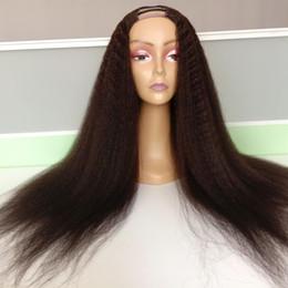 2019 parrucca parziale aperta Parrucche diritte crespi dei capelli umani di parte U per le donne nere Capelli vergini indiane non trattate 2 * 4 parrucche aperte della parte U di destra di destra sconti parrucca parziale aperta
