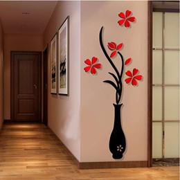 Wholesale Flowering Plum Trees - 2017 New 3D Vase Plum Flower Tree Crystal Arcylic Wall Sticker Home Room TV Decor Nice
