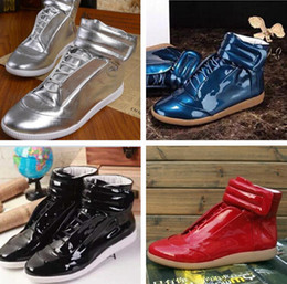 Wholesale Boot Box Clear - Wholesale Price New Designer High Top Man Casual Shoes Fashion Hook&Loop Multi Colors Casual Boots Flat Sneakers Size 38-46 With Box
