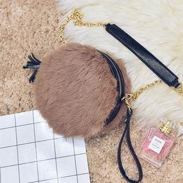 Wholesale New Arrival Winter Shoulders Handbag - New Arrival Handbags Women Autumn Winter New Fashion Shoulder Bag Casual Purses Messenger Bags Plush Small Round Bags Handbag Tote Bags