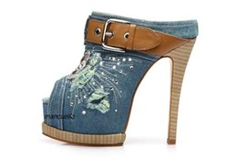 Wholesale Blue Jeans Cover - New Arrival Light Blue Denim Platform Slippers Women Stylish Jeans Crystal Buckle Decorated Peep Toe Sandals Stiletto Heel Shoes