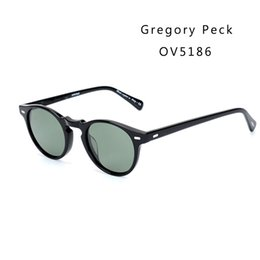 pink lense Coupons - Vintage Polarized Lense sunglasses oliver Gregory Peck Brand Designer men women Sunglass OV5186 retro Sun glasses gafas oculos