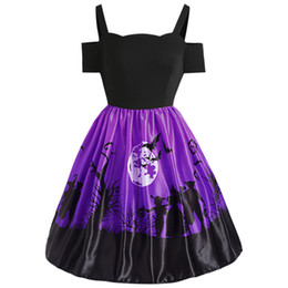 Vestido de swing de ombro on-line-Wipalo Plus Size 5XL Halloween Imprimir Sexy Fora Do Ombro A-Line Vestido Vintage Mulheres Retro Swing Party Dress Big Size Vestidos