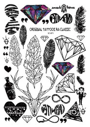 padrões de tatuagem de pé Desconto Rocooart A6080-201 Preto Grande tatuagem Taty Body Art Tatuagem Temporária Adesivos de Penas Rainbow Diamante Glitter Tatoo Adesivo