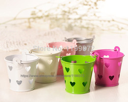 Wholesale Wholesale Tin Buckets Pails - 500pcs Heart Hollow Metal Wedding Party Shower Gift Mini Small Assorted Colored Tin Pails Buckets Bucket Candy Chocolate Box