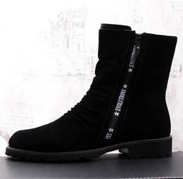 2019 zapatos de ante nubuck para hombre. ERRFC New Style Style Británico botas cortas negras top-top zapatos casuales hombre Nubuck Suede Martin botas Hombre Botas de mitad de la pantorrilla zapatos de ante nubuck para hombre. baratos