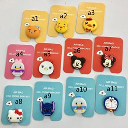 ring holders Promo Codes - Universal mobile phone bracket Cute hello kitty air bag Phone Expanding Stand Finger Holder For iPhone Sakura luna cat phone ring